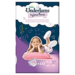 Pampers UnderJams Girls 10 Pyjama Pants - Size 7 (Small/Medium), Pack of 4