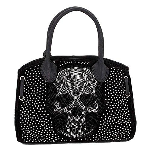 ROSENROT - SKULLY BAG - Tasche Handtasche mit Glitzer Skull Totenkopf aus Strass (Schwarz) (Strass-totenkopf Handtasche)