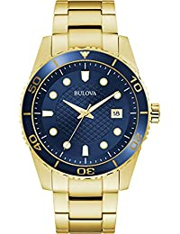 Bulova Mens Analogue Classic Quartz Watch with Stainless Steel Strap 98A197,Blue