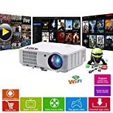 HD Projektor Smart WLAN - Bluetooth LED-Projektor-HD720, Full HD 1080p HDMI Beamer für Heimkino, Gaming, Spiele, Home Entertainment, Multimedia, Heimkino Projektor, Pubs, Clubs, Hotels, Büro, Konferenz, PowerPoint Präsentation - ABIS HD 6000 Plus Modell