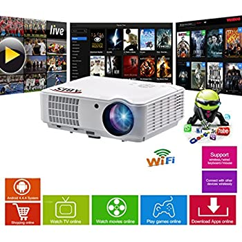 HD Projector Smart WIFI LED Projector - Bluetooth, HD 720, Full HD 1080p HDMI Projector for Home Cinema, Gaming, Home Entertainment, Multimedia, Home Theatre Projector, Pubs, Clubs, Hotels, Office, Conference, PowerPoint Presentation- ABIS HD6000 Plus Model (White)