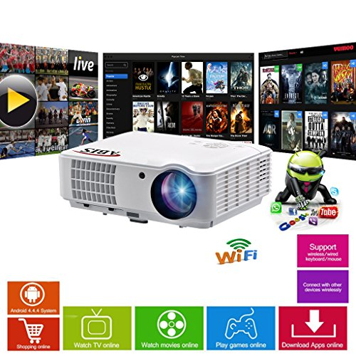 Projector Bundle: HD Smart LED Projector with Projector Screen, Ceiling Mount / Tripod Stand, 10m HDMI for Home Cinema, Gaming and Multimedia (HD6000 Plus + 100