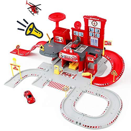 Nuheby Garage Voiture Enfants Caserne Pompier Jeux de Construction 3 4 5 an Fille Garcon, Jeu d'imitation Parking Coffret Jouet de Fête Cadeau - 1 Hélicoptère et 2 Mini Voiture