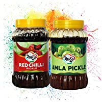 Meghdoot Red Chilli and Amla Pickle Combo from Khadi India, 400g Each