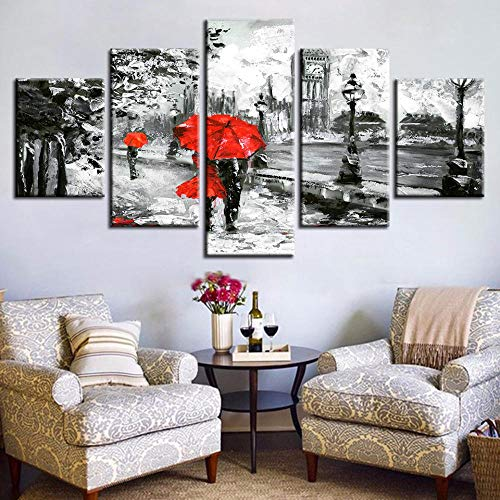 lcyab Impressions Sur Toilecanvas Painting Wall Art Prints 5 Pieces Red Umbrella Lover Poster Street Rain View Pictures Living Room Retro Home Decor