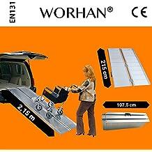 WORHAN® 2.15m Rampa Plegable Carga Silla de Ruedas Discapacitado Movilidad Aluminio R7