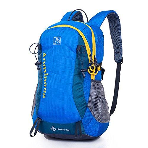 Wewod Fonctionnalité Sac à Dos de Loisirs en Polyester Outdoor Sport Sac de Alpinisme Randonnée Voyage Cyclisme Unisex Backpack de Contraste Couleur (Bleu)