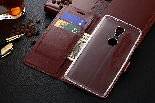 Für Gionee M6 Plus Case, Solid Color TPU / PU Leder Tasche Folio Flip Stand Brieftasche Case Cover mit 2 Karten Slot & 1 Cash Slot ( Color : Brown ) Red