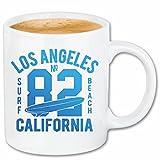 taza para café Los Ángeles, California Surf Beach TABLAS DE SURF LAS ONDAS DE LONGBOARD Beginner Shop Caso duro de la cubierta Teléfono Cubiertas cubierta para el330 ml de cerámica en blanco
