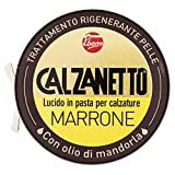 Calzanetto, Lucido per calzature in Scatoletta, in pasta dura, con cere pregiate, in salute e bellezza, colore Marrone, 50 ml