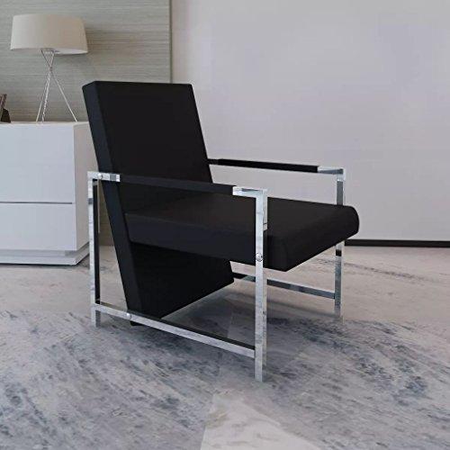 Luckyfu questa poltrona cubo nera di alta qualita con piedi in cromo.poltrona confortevole,rilassati muscolari e allevia la fatica.poltrona relax.poltrone reclinabili.