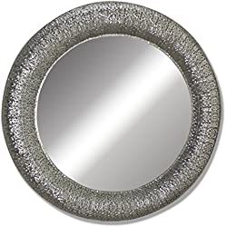 Slate & Rose Marroquí espejo de pared redondo 80cm-Silver