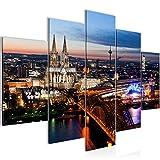 Bilder Köln Wandbild 150 x 100 cm Vlies - Leinwand Bild XXL Format Wandbilder Wohnzimmer Wohnung Deko Kunstdrucke Blau 5 Teilig - MADE IN GERMANY - Fertig zum Aufhängen 601553a