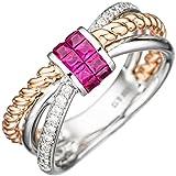Ring Damen 14 Karat (585) Rotgold Weißgold mit Rotgold kombiniert Rubin 10 20 Diamant null 58 (18.5)