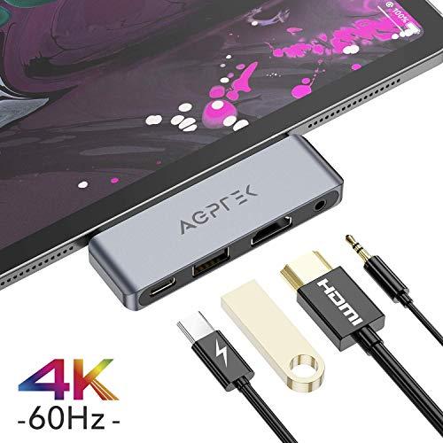 4 EN 1 Hub USB C para iPad Pro 2018, AGPTEK Adaptador USB C a HDMI 4K, Auriculares de 3.5 mm, Carga PD, Compatible con Macbook, DELL XPS, Samsung S8/S9/Note8 y Más Dispositivos de Tipo C, Gris