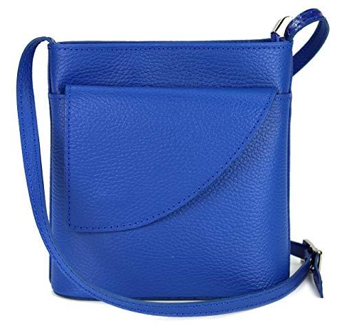 Blau Leder Tasche (Belli ital. Ledertasche Damen Umhängetasche Handtasche Schultertasche mit zusätzlichem Klappfach in royalblau - 18,5x18,5x7cm (B x H x T))