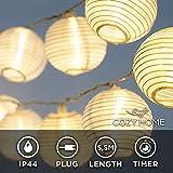 CozyHome - cadena de luces LED lampion - 5,5 metros de longitud total | 15 LEDs de color blanco cálido | NO funciona con pilas, pero con enchufe de alimentación