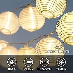 LED Lampion Lichterkette - 5,5 Meter | Mit Netzstecker NICHT batterie-betrieben | Für innen und außen + Timer | 15 LEDs warm-weiß | Kein lästiges austauschen der Batterien | LED Lampions von CozyHome