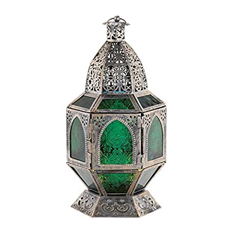 Ornate Six-Sided Candle Lantern with Green Pressed Glass Panels by Unknown