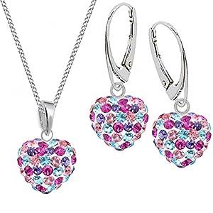 Kristall Herz Anhänger + Kette + Brisur Ohrringe 925 Silber Set