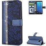 FNBK Handyhülle Kompatibel mit Samsung Galaxy S8 Plus Schutzhülle Glitzer Leder Lederhülle Flip Wallet Tasche Handytasche Stand Magnetverschluss Silikon Hüllen für Samsung Galaxy S8 Plus,Blau