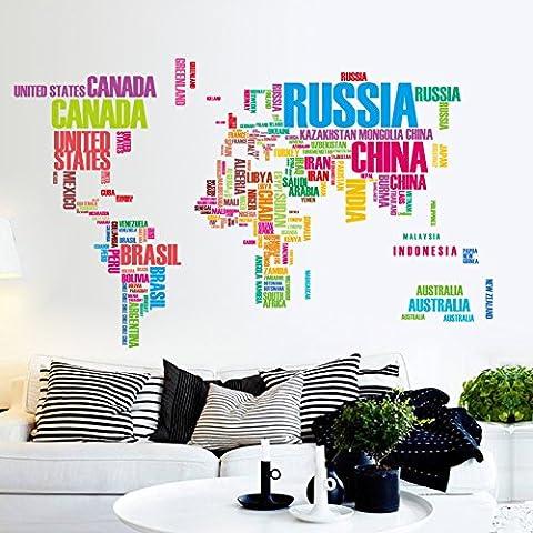 los Mapa del mundo Vinilos decorativos Arte Inglés Carta Citar Pegatinas de pared Negro Mapa del mundo Original Habitación creativa Calcomanías de pared