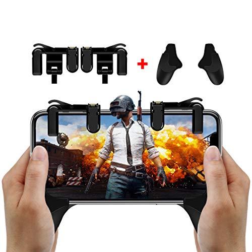 Mando de Juego Móvil, Gatillo Grip para Juego Móvil con Joystick para Smartphone de 4.5 a 6.4 Pulgadas, Controlador de Mando para Juegos como PUBG / Fortnite / Rules of Survival para Teléfono Android/iOS