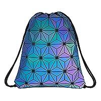 Segorts Geometric Lingge Drawstring Bag Luminous Gym Bag Sport Backpack Holographic Reflective Shoulder Bags Travel College Rucksack for Women Men