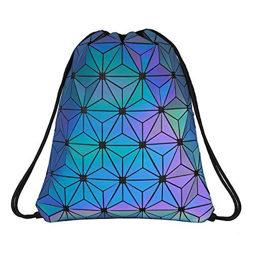 Deeplive Geometrische Lingge Kordelzug Leuchtende Sporttasche Sport Rucksack Holographische Reflektierende Umhängetaschen Reise College Rucksack für Frauen Männer (Luminous)