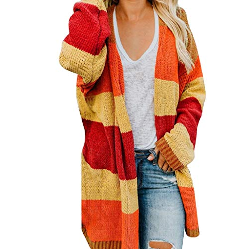 Damen Mantel Patchwork Langarm feiXIANG Mode Strickjacke Tops Pullover Oberteile Oversize Tops Cardigan (Orange,M)