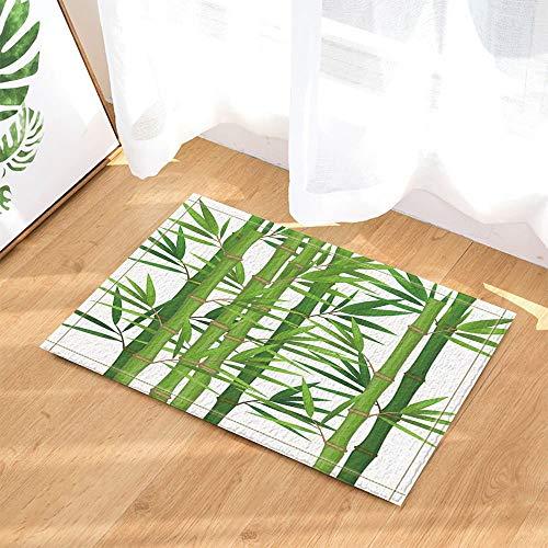fdswdfg221 Tropische Pflanzen Dekor Bambus mit grünen Blättern Badteppiche Rutschfeste Fußmatte Boden Eingangsbereiche Indoor Haustürmatte Kinder Badmatte Badzubehör