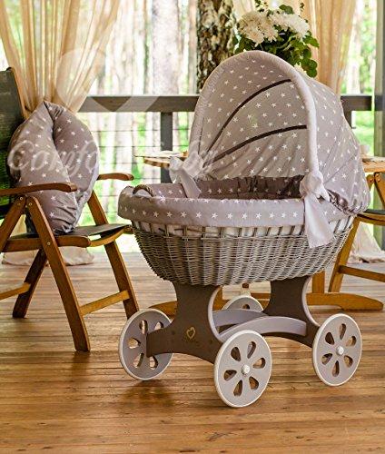 ComfortBaby ® HOME XXL Baby Stubenwagen - komplette 'all inclusive' Ausstattung - Zertifiziert & Sicher (Luna Grey - GrauSterne)