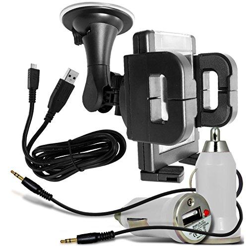 N4U Online®-Padgene, 5Zoll Smartphone Universal KFZ-Halterung Halter, Bullet In Car USB-Ladegerät mit USB-Ladekabel, LED-Licht-Kabel & Ladegerät Kabel, 3,5-mm-Klinke auf Klinke, Weiß