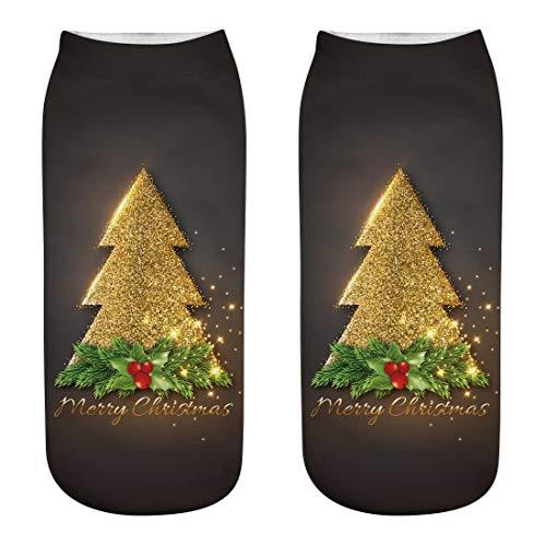 Supertong Weihnachtssocke Damen Herren Socken Bootssocken Mode 3D-Druck Weihnachten Lustige Socken Unisex Christmas Karneval Geschenk Kuschelsocken Kurze Sportsocken -
