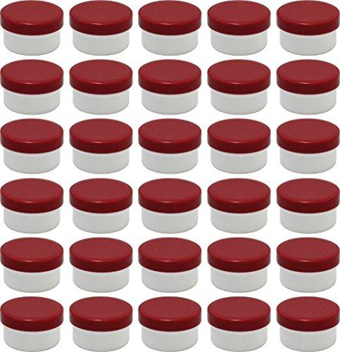30 Salbendöschen, Creme-döschen, Salbenkruken 6ml Inhalt mit roten Deckeln - MADE IN GERMANY -