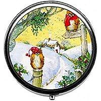 LinJxLee Christmas Owls Round Pill Case Pill Box Tablet Vitamin Organizer Easy to Carry preisvergleich bei billige-tabletten.eu