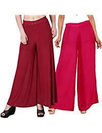 Mango People Products Indian Ethnic Rayon Designer Plain Casual Wear Palazzo Pant For Women's (Maroon And Pink...