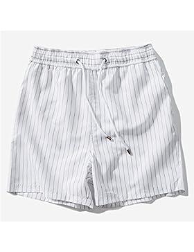 Zgsjbmh Pantalones de Playa Impermeables Hombres Pantalones Cortos de Rayas Blancas Piscina Junto al Mar (Tamaño...