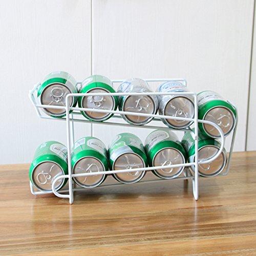 Organizador de frigorífico para alimentos, Moderno organizador de cocina para latas de bebida y conservas, Soporte y dispensador de latas fabricado en metal para ordenar la nevera(20.5*13*18cm,White)