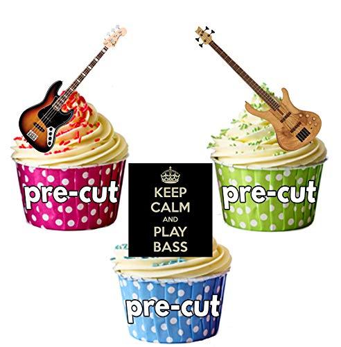Cupcake topper, confezione da 12 pezzi, motivo: Keep Calm basso, chitarra, commestibili