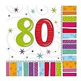 Servietten 80. Geburtstag Zahl 80 Geburtstagsfeier Geburtstagstisch Party Geburtstagsüberraschung