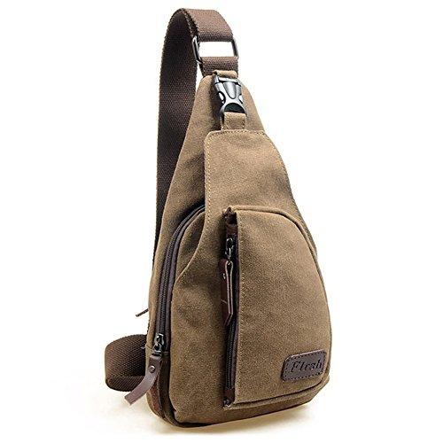 Xiaokesong® Herren Canvas Leinwand Militär Schultertasche Reisen Wandern Bodybag Handtasche Rucksack für Freizeit Outdoor Sports (Grau) Kaffee