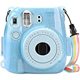 Fintie Protective Clear Case For Fujifilm Instax Mini 8 Mini 8+ Mini 9 Instant Camera - Crystal Hard PVC Cover With Removable Rainbow Shoulder Strap, Shining Blue