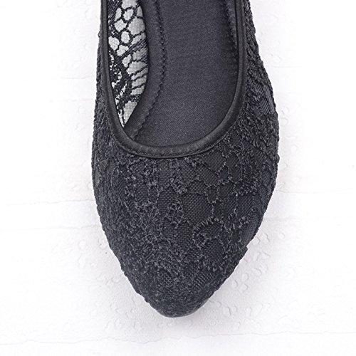 WYMBS Net-fait respirante chaussures plates à fond plat creux avec dentelle chaussures noires Black