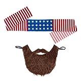 Amerika Stirnband und Bart Rocker Kostüm Set Easy Rider Vollbart USA Biker Outfit Stars and Stripes Kleidung Herren Falscher Kunst Bart