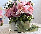 LUCKY-U Bridal Bouquets,Wedding Flower Countryside White Silky Artificial Bridesmaid Wedding Fake Rose Flower