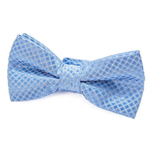 DonDon pajarita noble para niños chico  combinada y ajustable 9x 45 cm  de color azul claro  brillada con argénteo puntos