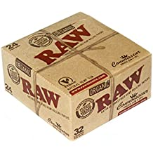 1 box RAW CONNOISSEUR King Size UNREFINED Hemp Rolling papers ORGANIC + TIPS by RAW