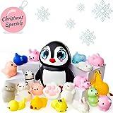 Mochi Squishy Spielzeug - 20er Pack Squishies Plus 1 Jumbo Squishie - Sanft Ansteigende Pinguin Squishy - Mochi Squishy Tiere, Katze, Panda - Kawaii Squishys Jumbo - Schl�sselanh�nger Squishys Bild