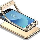 HICASER Samsung Galaxy J3 2018 Hülle + Panzerglas, 360 Grad Komplettschutz Vorder und Rückseiten Schutz Schale Ganzkörper-Koffer Soft TPU Schutzhülle für Samsung Galaxy J3 (2018) Gold